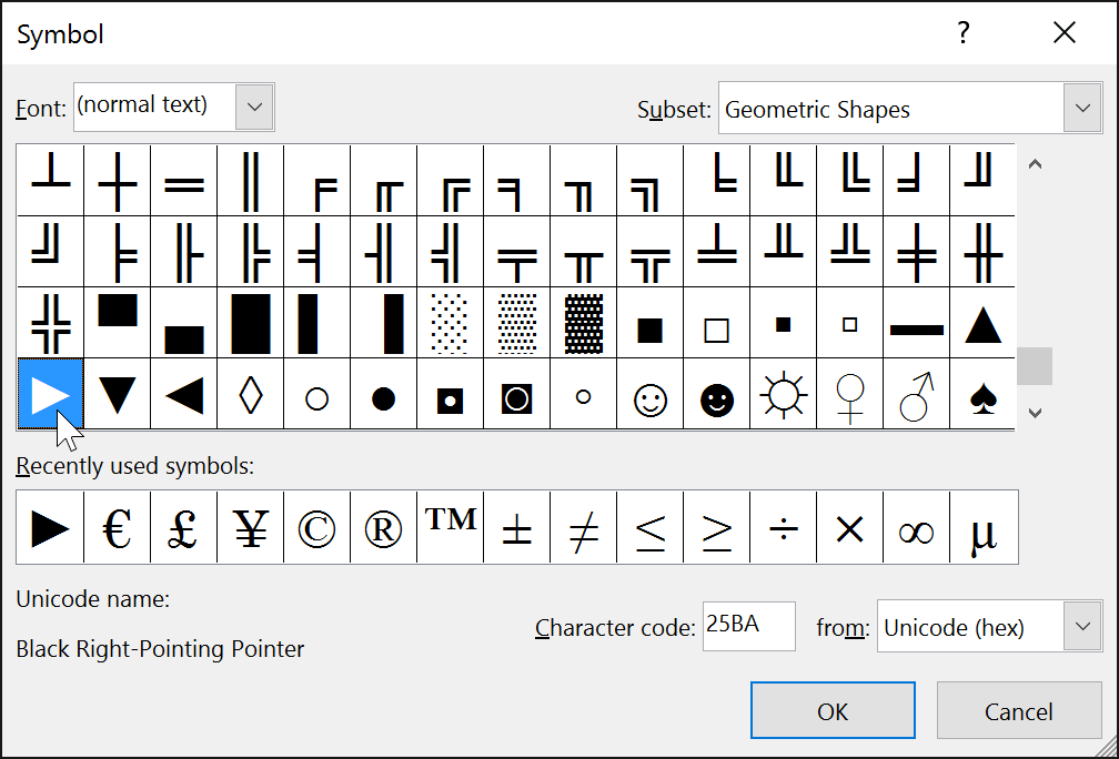 selecting a triangle symbol