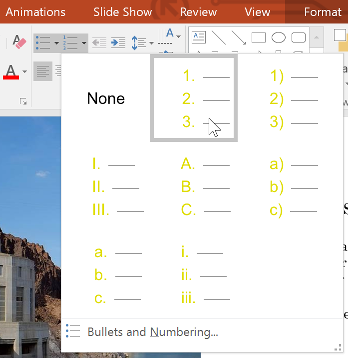 selecting a numbering option