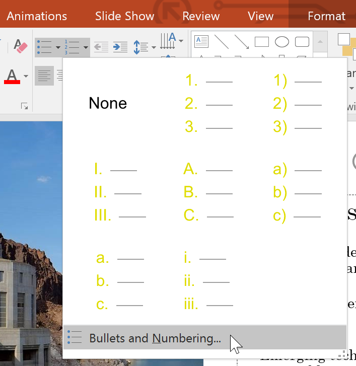 selecting Bullets and Numbering