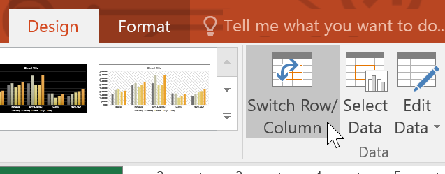 clicking the Switch Row/Column command