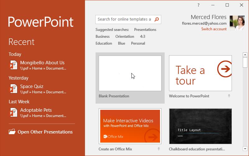 Creating a blank presentation