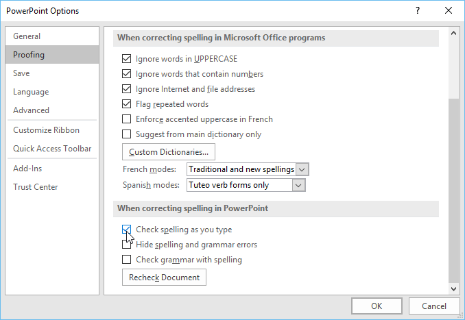 modifying proofing options in the Options dialog