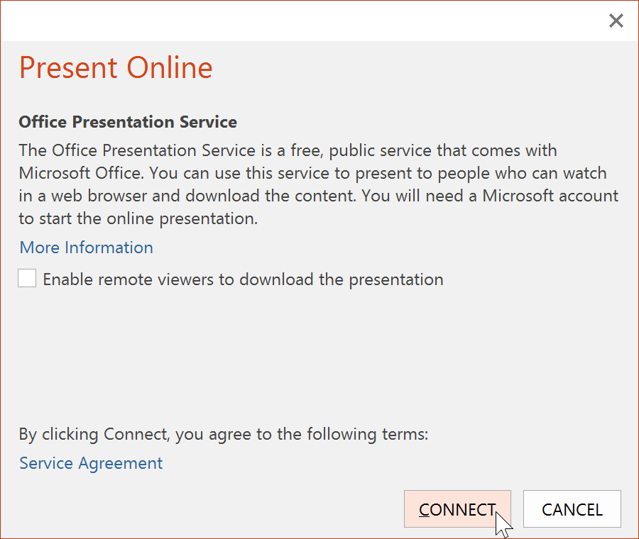 the Present Online dialog box