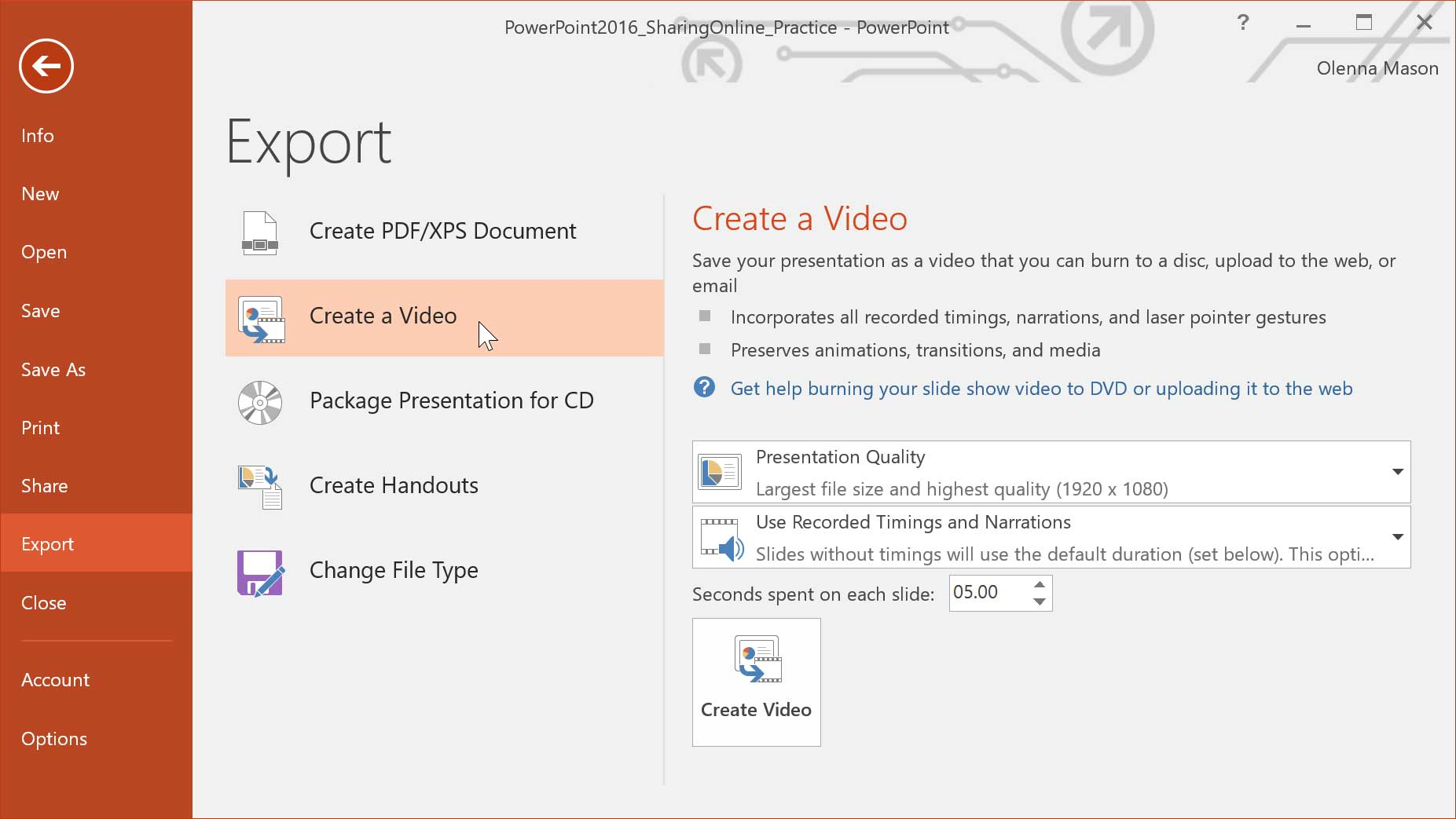 video export settings