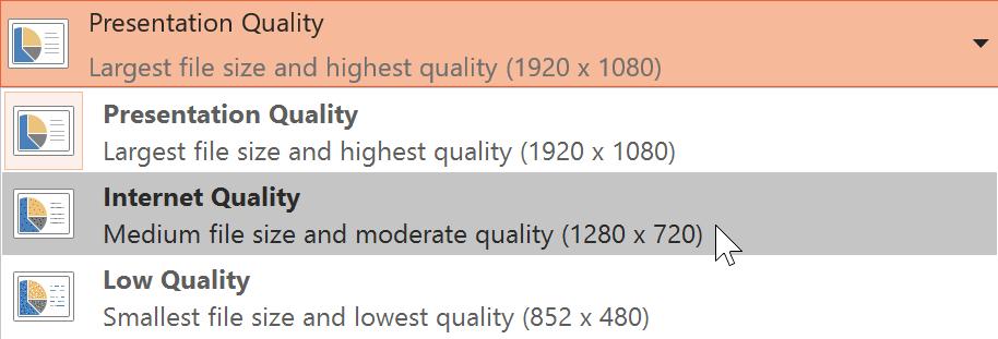 choosing a presentation quality