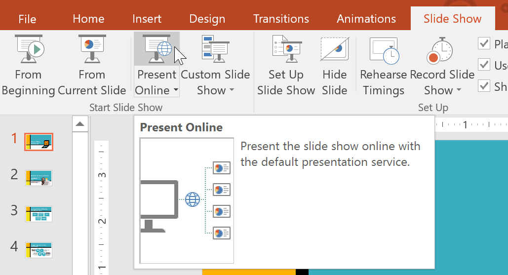 powerpoint 2016 sharing your presentation online