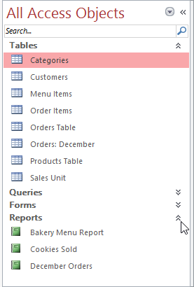 Showing and hiding groups in the Navigation pane
