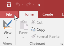 Clicking the File tab