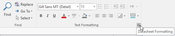 Clicking the Datasheet Formatting arrow