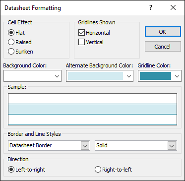 Changing the table background color, gridline color, and border and line style