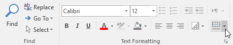 Clicking the Alternate Row Color drop-down arrow