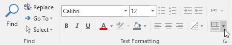 Clicking the Alternate Row Color drop-down arrow
