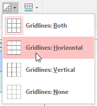 Selecting horizontal gridlines