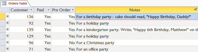 "The filtered table showing only records containing the word ""party"" in the Notes field"
