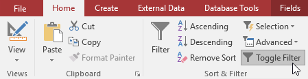 Removing the current filter with the Toggle Filter command