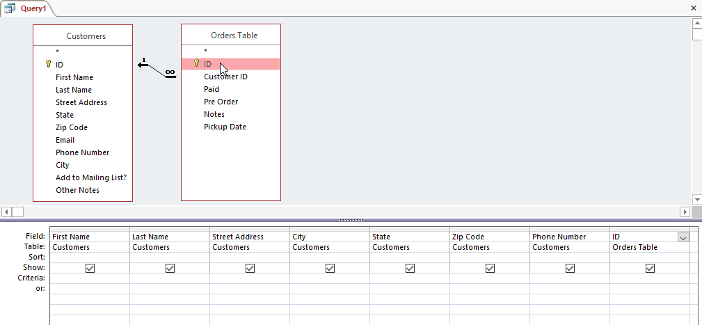 Adding table fields to the query