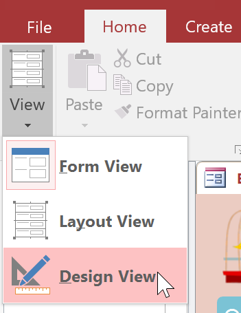 Switching to Design View with the View command on the Ribbon