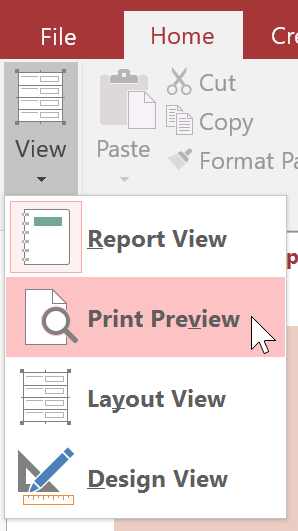 Selecting Print Preview from the View menu