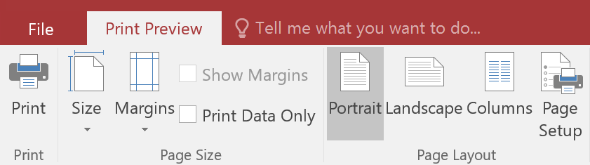 The Print Preview tab on the Ribbon