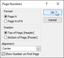 Selecting page number settings