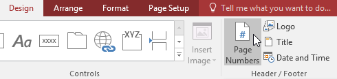 Clicking the Page Numbers command