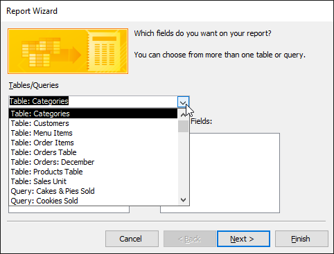 Selecting a table that contains fields to include in the report