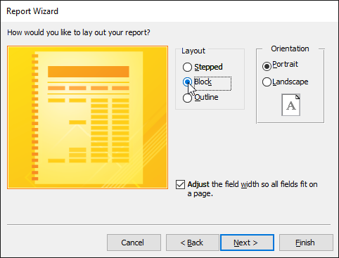 Setting the report layout