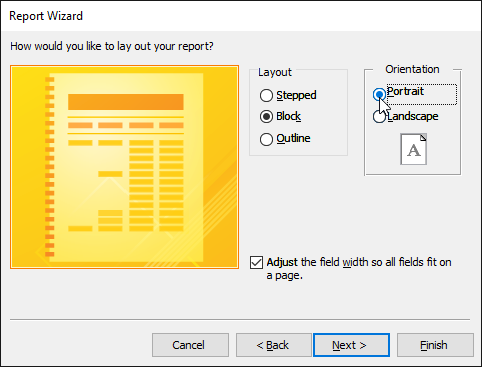 Setting the report orientation