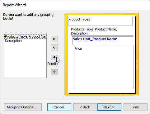 Moving the Sales Unit field down a grouping level