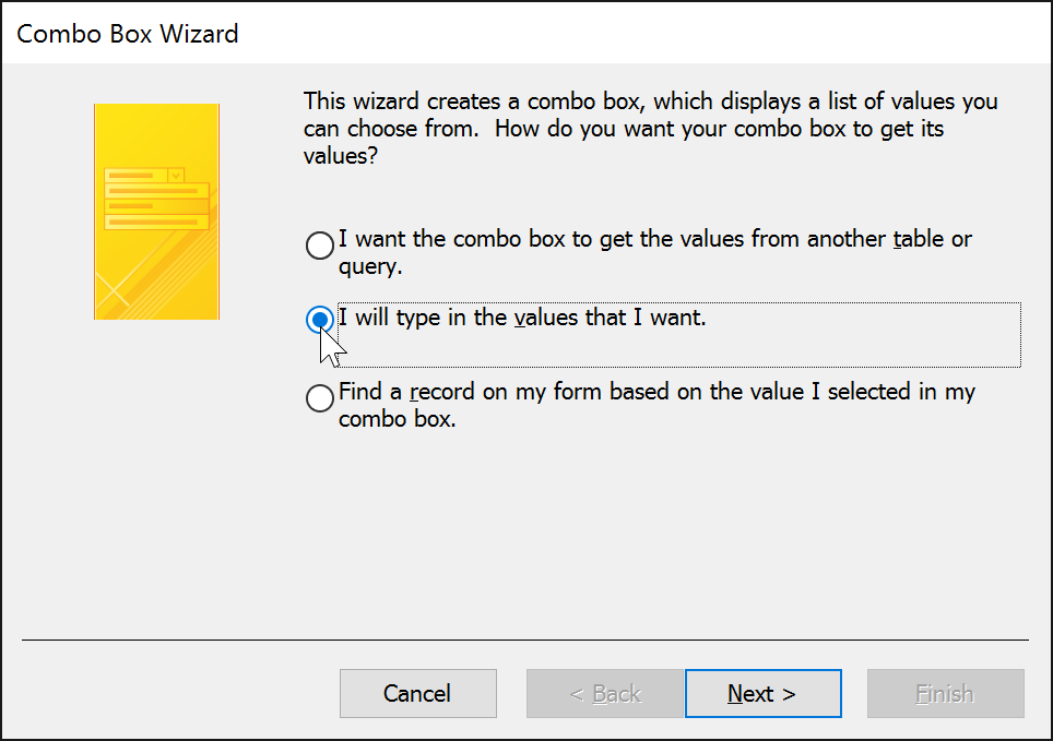 The Combo Box Wizard dialog box