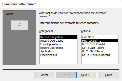 Selecting the type of command button to create - www.office.com/setup