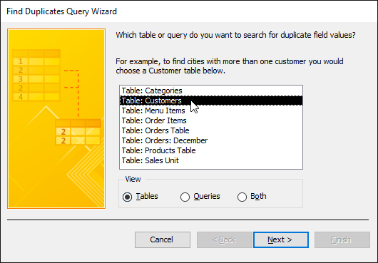 Selecting the table to search for duplicates