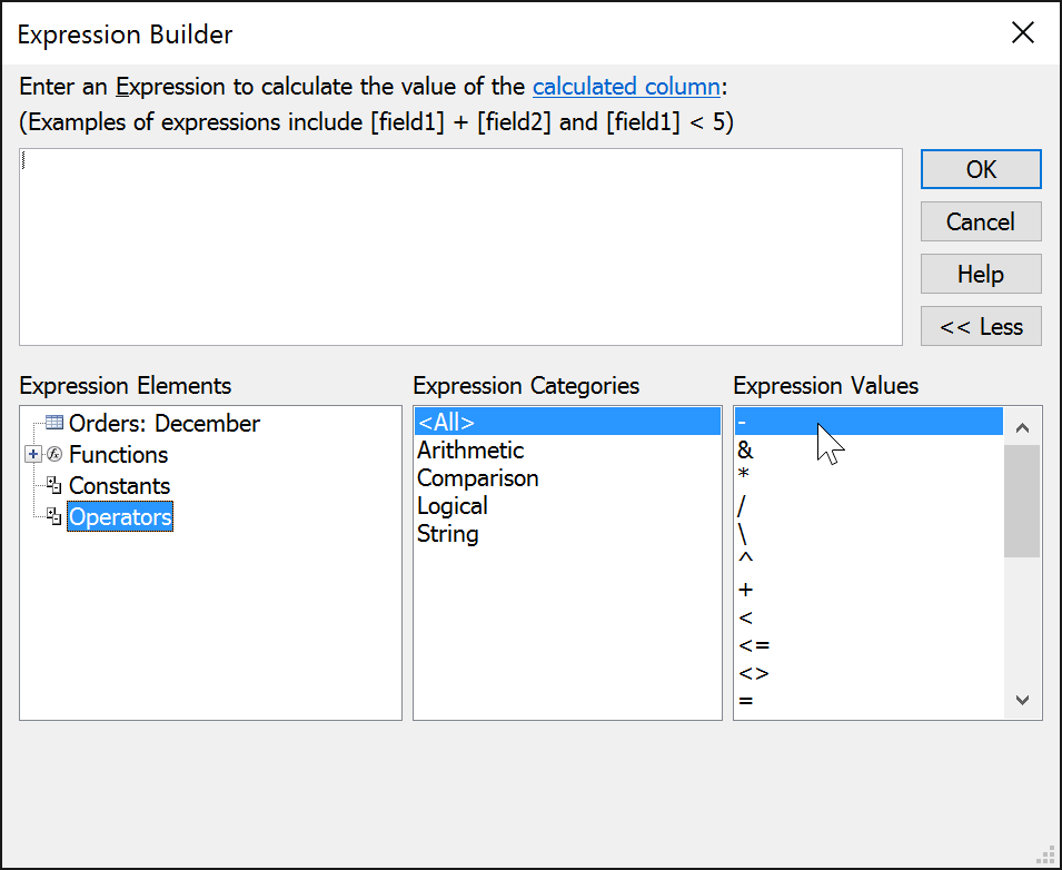 Arithmetic operators in the Expression Builder