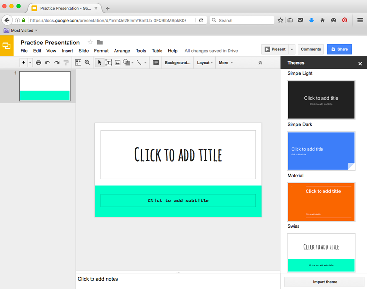 google slides getting started with your presentation