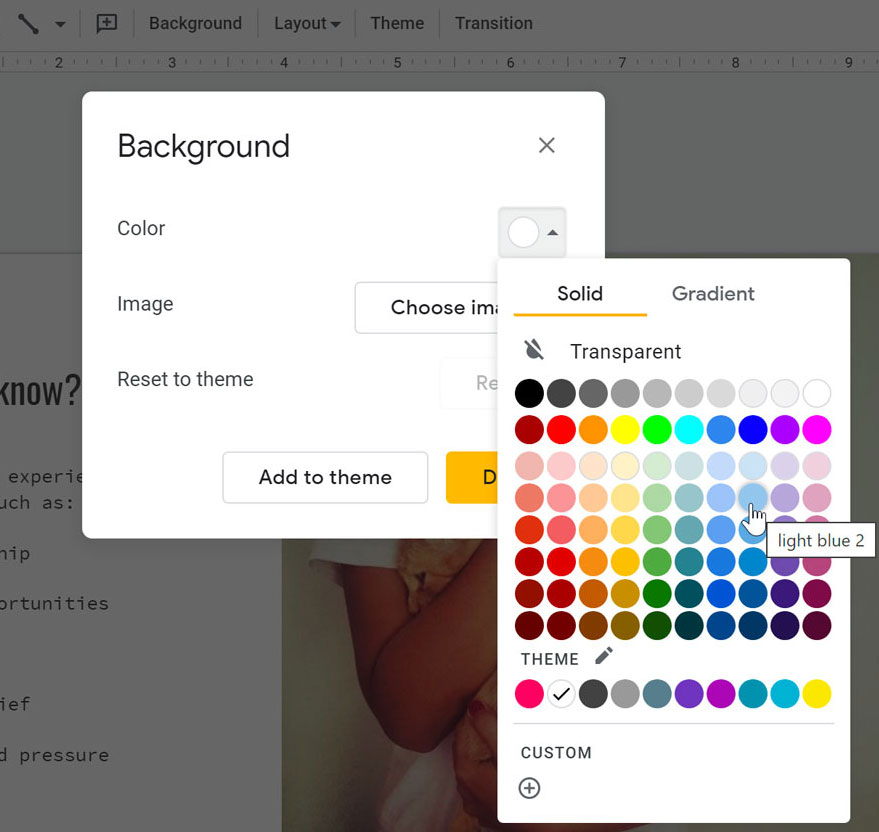 changing the background color