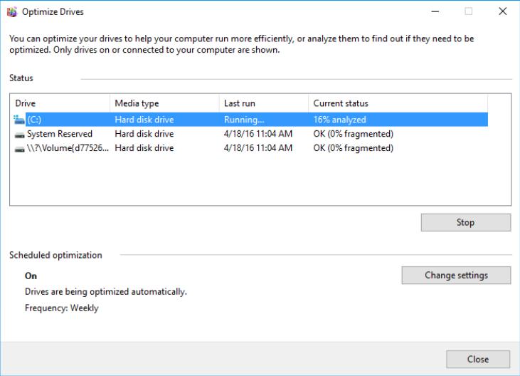 running the disk defragmenter