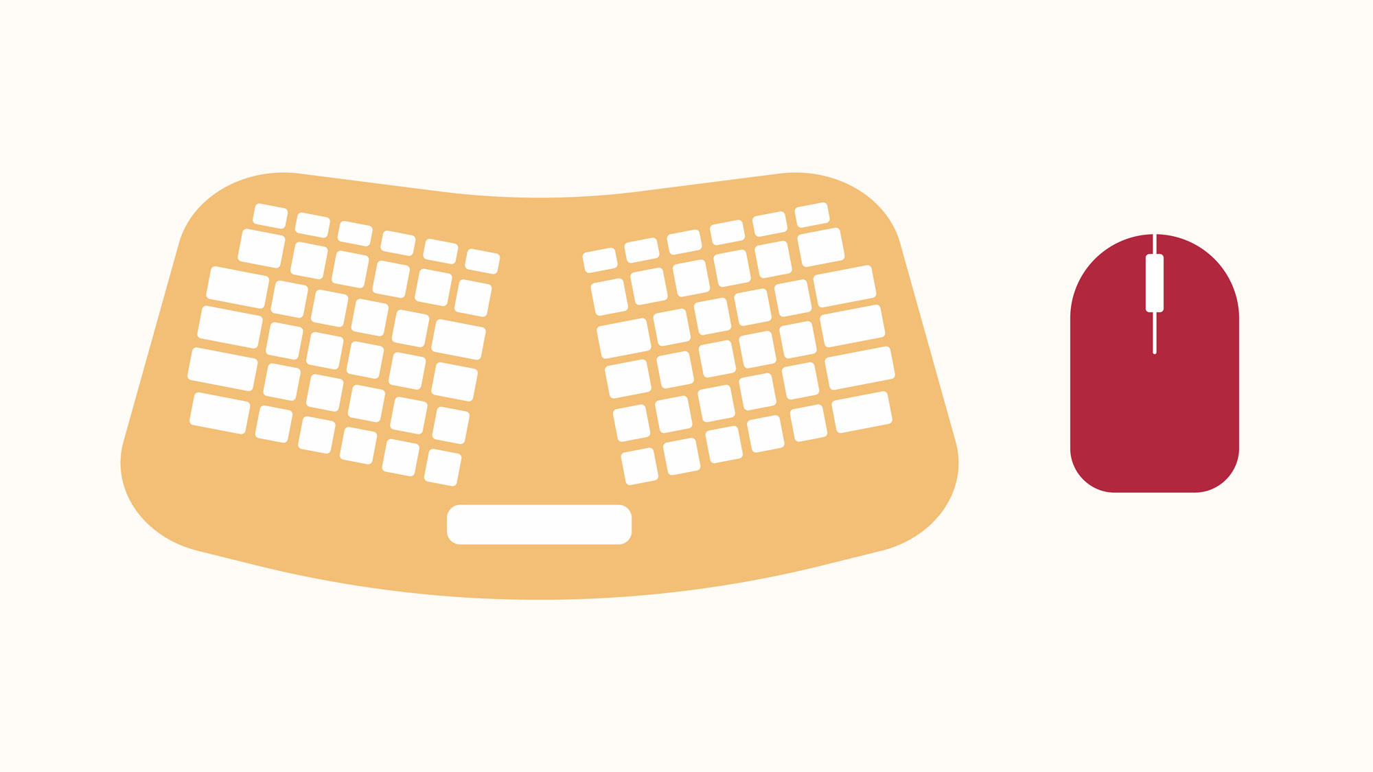 showing an ergonomic keyboard
