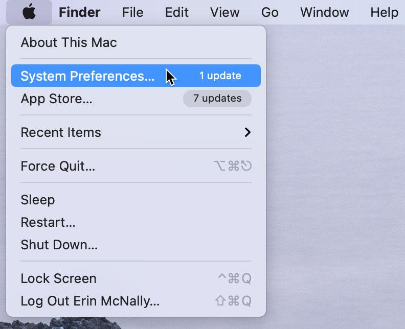 Opening System Preferences Big Sur OS