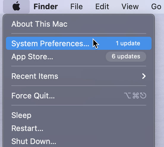 opening the System Preferences for Big Sur OS