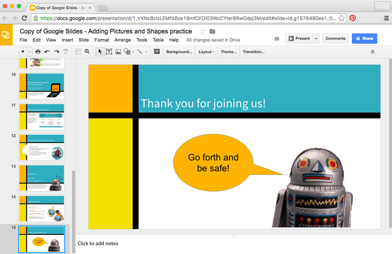 google slides adding pictures and shapes