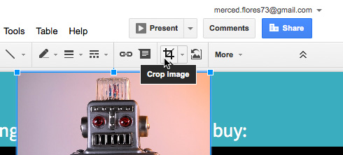 Clicking the Crop command