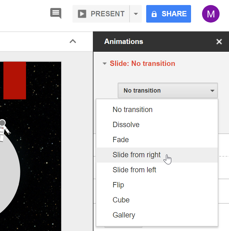 google slides adding transitions and animations