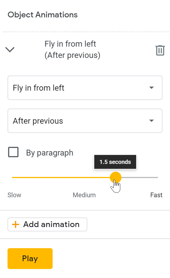 adjusting the speed using the slider