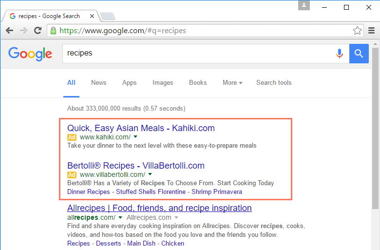 adverstisements within search results