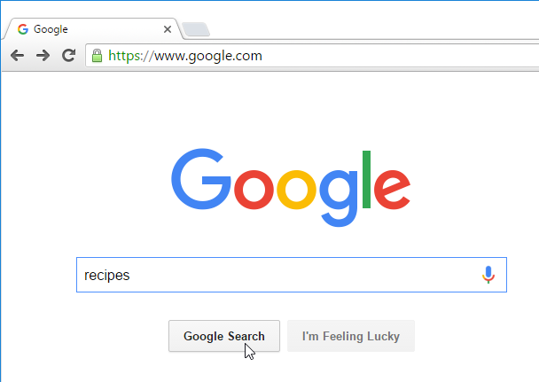 searching for recipes on Google