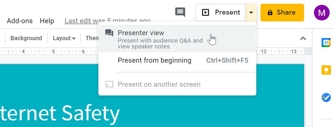 selecting presenter view