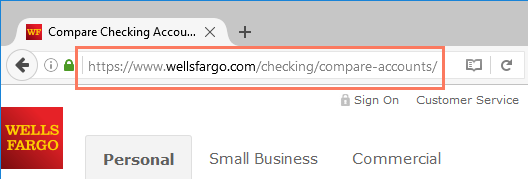 a highlighted domain name in the address bar