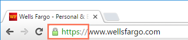 the https symbol in the address bar
