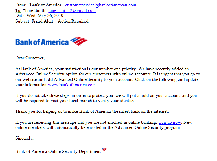 Bank account opened fraudulently