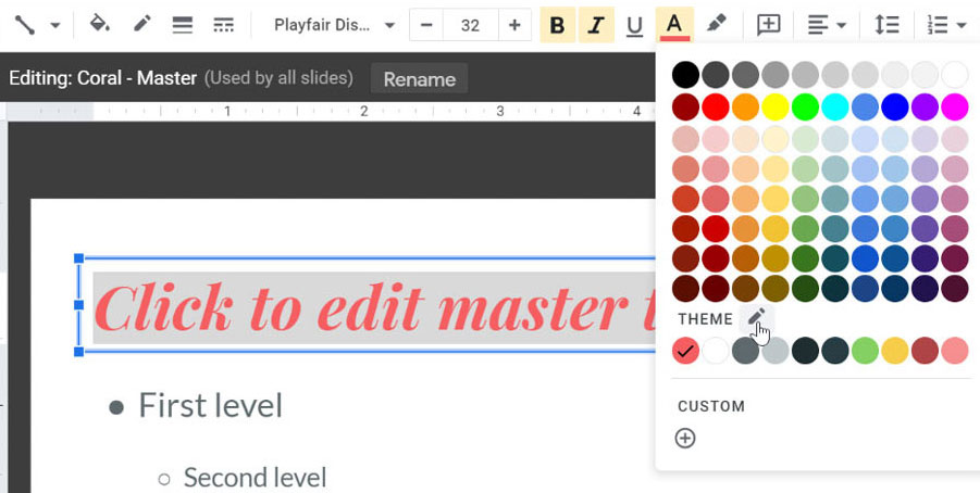 selecting the edit theme colors icon